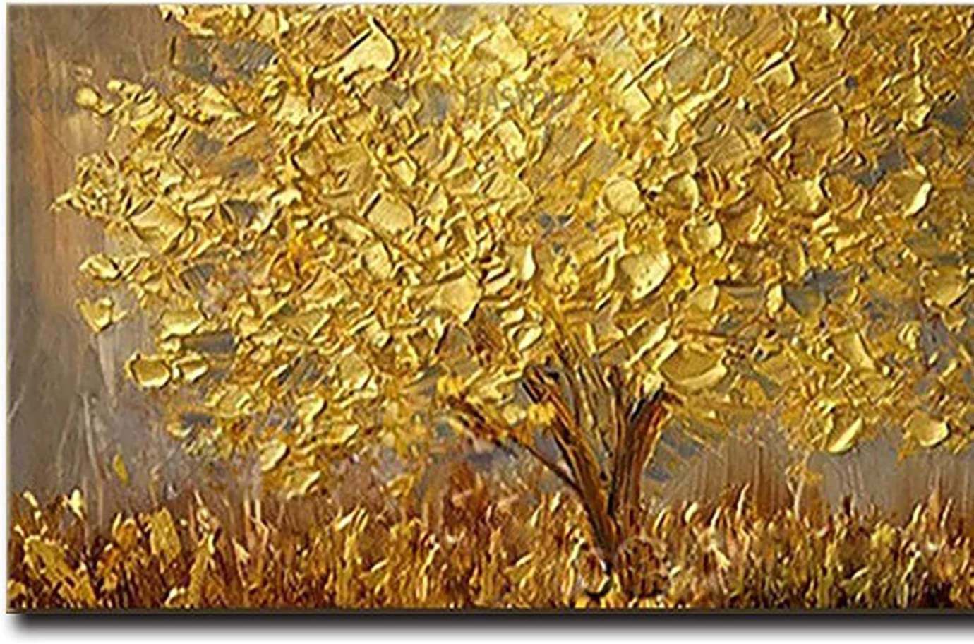 Store Complete Free Shipping YI KUI Hand-painted oil painting Flowers Golden Luck 3 Tree