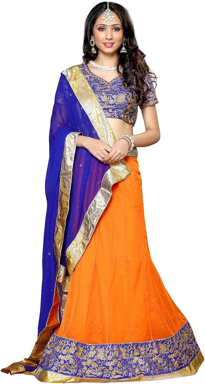DesiButik's Wedding Wear Alluring orange Soft Net Lehenga