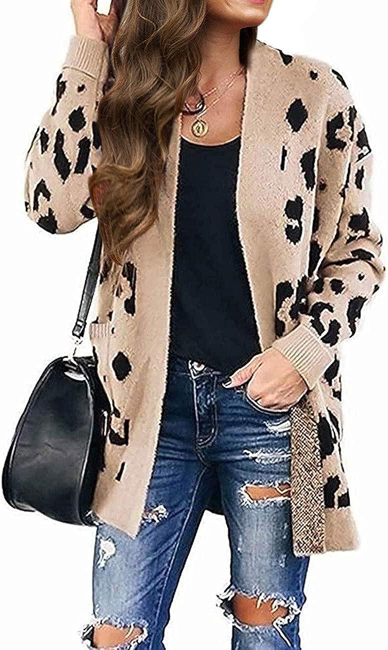 MEROKEETY Women's Open Front Leopard Knit Cardigan Sweaters Long Sleeve Outwear