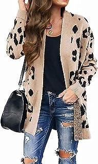 Women's Open Front Leopard Knit Cardigan Sweaters Pockets...