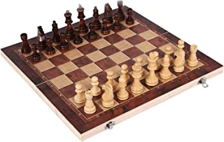3 In 1 Wooden Chessboard Game, Deluxe Portable Folding Chess-Backgammon-Draughts Set, Puzzle Educational Gift For Kids & A...