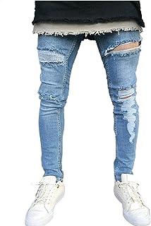 Legou Men's Skinny Fit Destroyed Denim Jeans