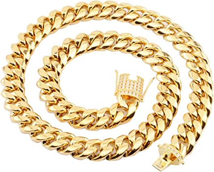 Epinki Stainless Steel Chain Necklace for Men Gold Curb Link Chain for Men Necklace