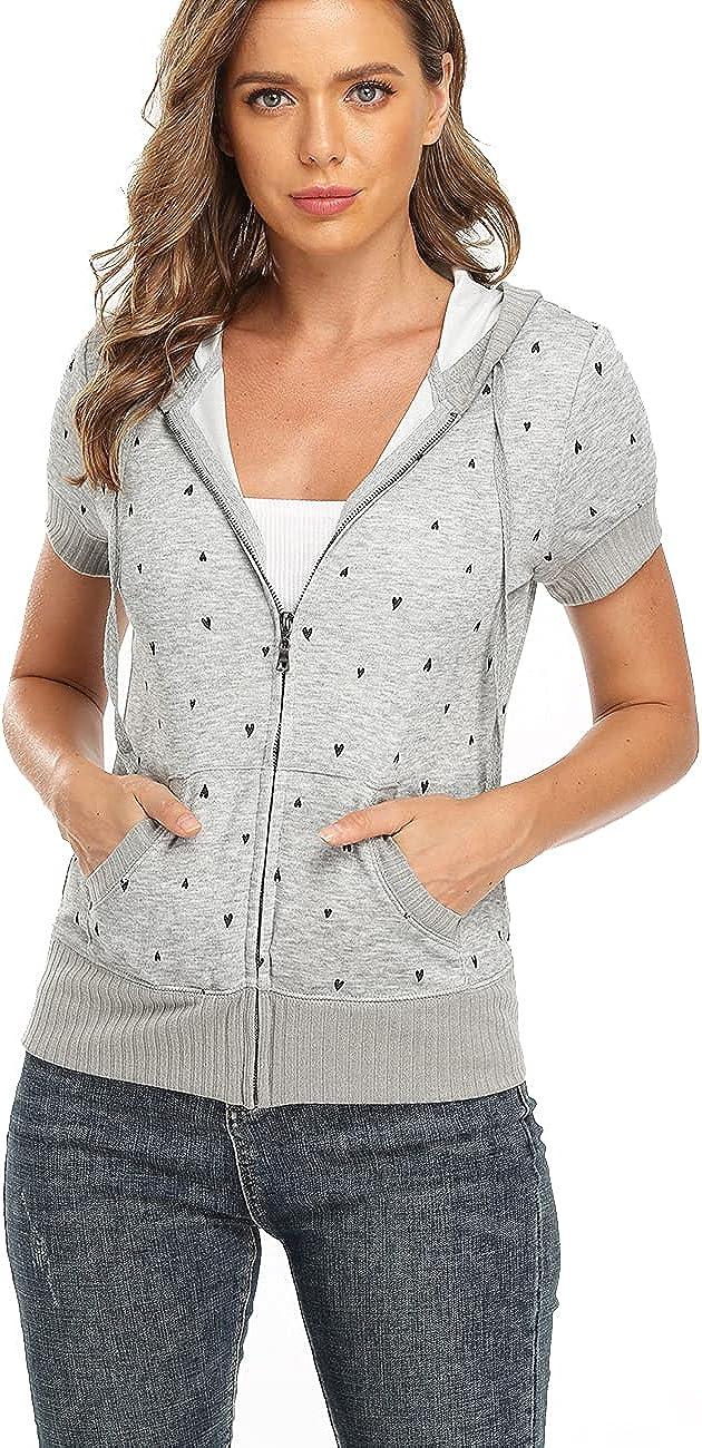 Dilgul Women's Short Sleeve Hoodie Full Zip Up Jacket Casual Sweatshirt Kanga Pocket