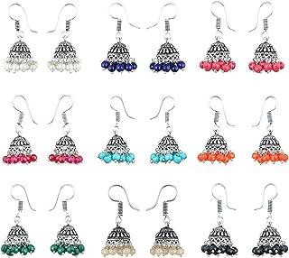 65b36392f Waama Jewels Multicolor Silver-Plated Combo Of 9 Jhumki Earrings For Women