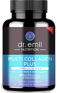 Multi Collagen Pills (Types I, II, III, V & X) - Collagen Peptides + Absorption Enhancer - Grass Fed Collagen Protein Blen...