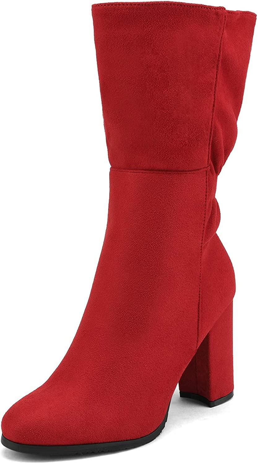 DREAM PAIRS Women's RED Mid Calf High Heel Boots Size 6 M US Dee