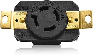 Aweking UL Listed NEMA L15-20R Receptacle Connector Socket,20A 20 Amp,AC 250V 250 Volt,3 Pole-4 Wire,Grouding,Twist Locking,Black Gray