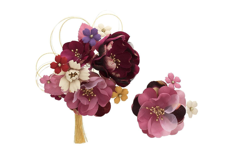 (ソウビエン) 袴 髪飾り 花 2点セット 桜 牡丹 房飾り 水引 成人式向き 振袖向き 卒業式向き