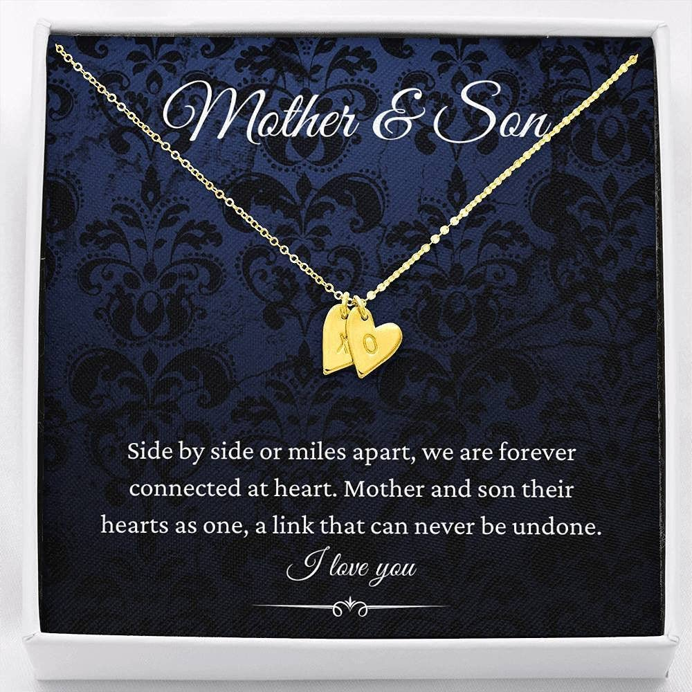 Custom Pendant,Initials Hearts Necklace, Mother & Son, Mom Gifts From Son, Gift For Mom From Son, Mother Birthday Gifts From Son, Sentimental Gifts For