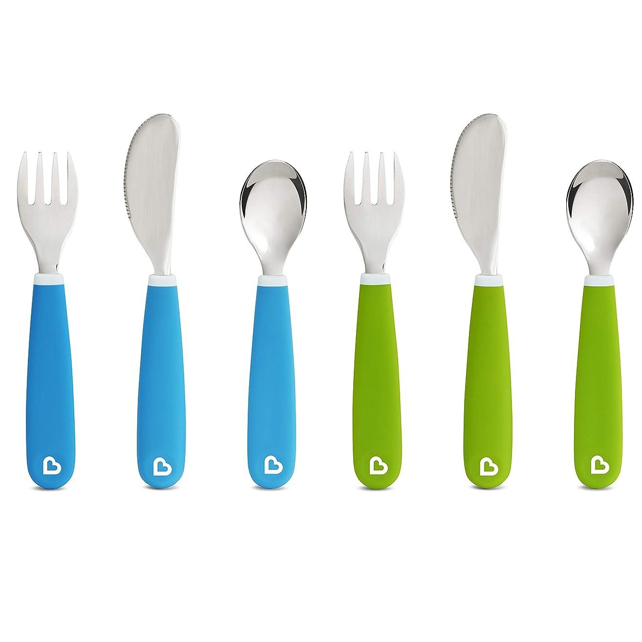 Munchkin Splash Toddler Fork, Knife and Spoon Set, 6 Pack, Blue/Green