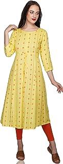 METRO-FASHION Women A-line Rayon Kurta(Yellow)