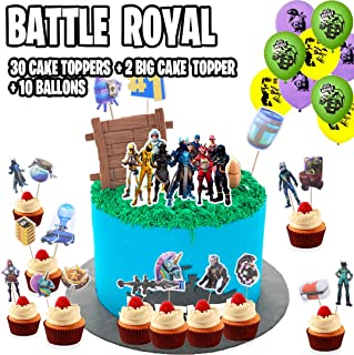 FortParty - Battle Royal Party Set (2019 Update) - Birthday Party Supplies for Game Fans, 50Pcs Party Favors, 31 Cake Toppers, 2 Big Cake Toppers, 10 Ballons