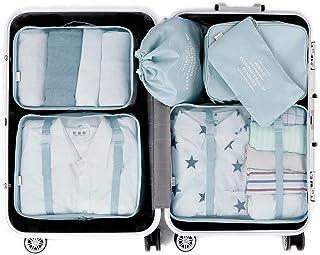 Organizadores de Viaje para Maletas, 6 Set Bolsas de Equipaje Impermeable Cubos Embalaje de Viaje Organizador de Maleta para Ropa Zapatos, Cosméticos Accesorios, Material Nylon (Azul Claro)