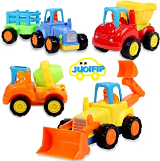 JUOIFIP Friction Powered Cars Push and Go Toys Construction Vehicles Toys Set of 4 - Tractor, Bulldozer, Cement Mixer Truck, Dumper - for Baby Toddlers Children Kids Gift