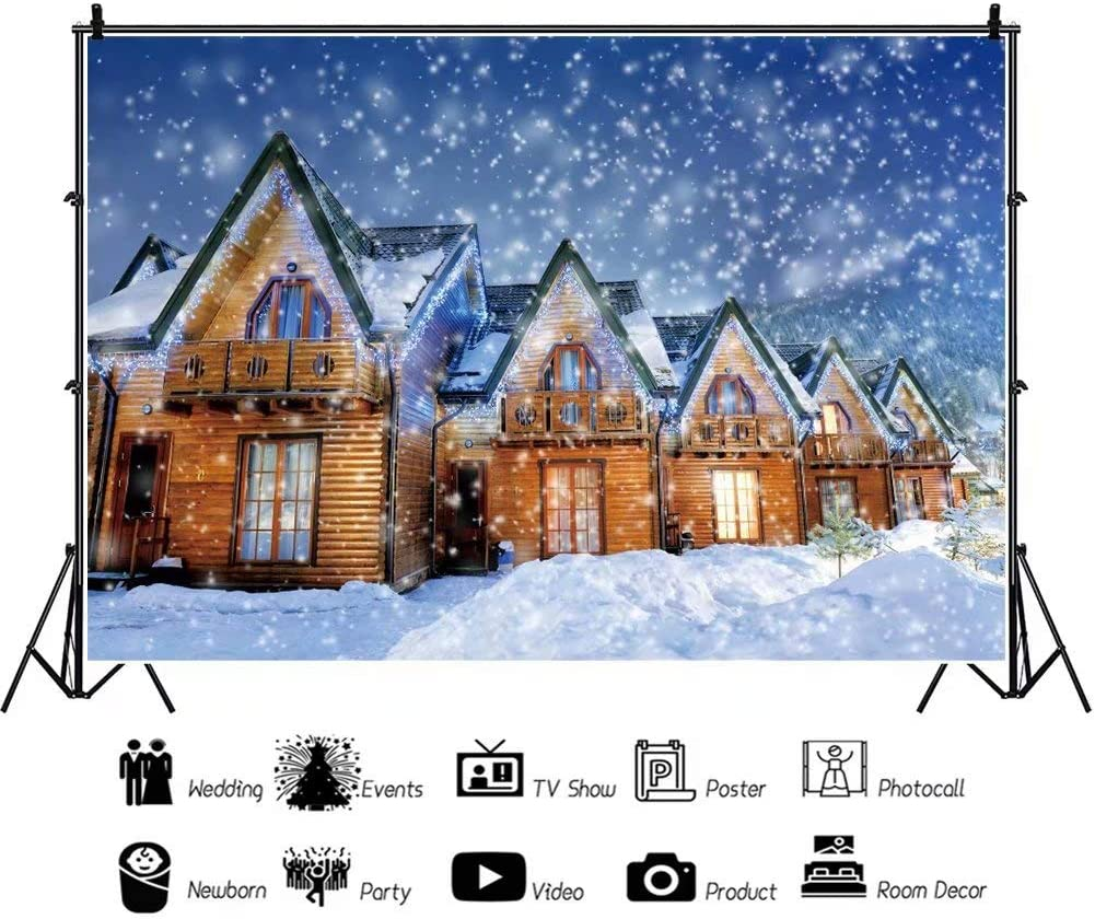 DaShan 14x10ft Christmas Winter Snow Party Backdrop Winter Snowfall White Snow Cottage Photography Background Winter Snow Town New Year Christmas Holiday Kids Adults Portrait Photo Props
