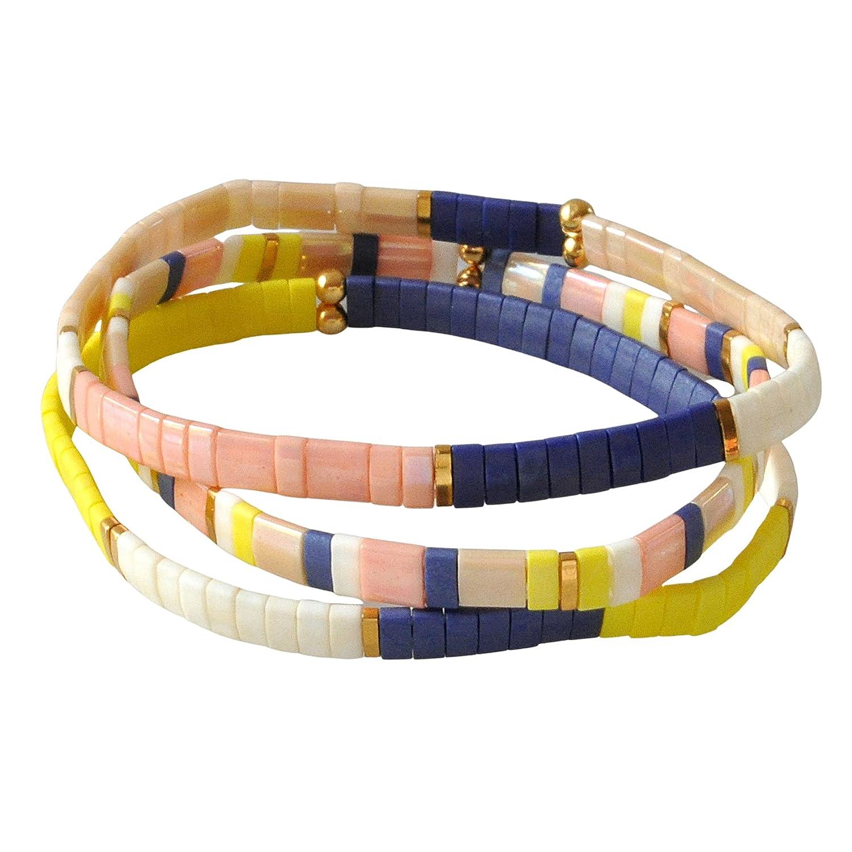 Tile Bracelet Set with 3 gift Navy Blue Yellow favorite Tila 7 inch Blush Bead
