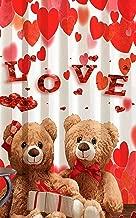 HOMECRUST 3D Love Teddy Fabric Curtain, 4 x 5Ft(Multicolour)