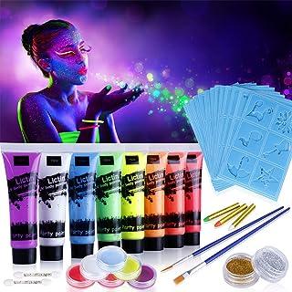 Lictin Vernice Fluorescente Colorato,Neon Kit per Pelle Viso Corpo,Fluo Party UV Body Painting,8 Vernice Fluorescente,6 Tr...