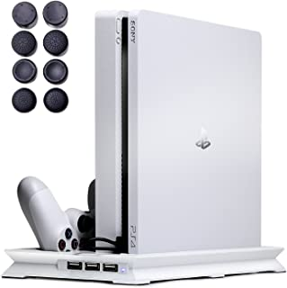 PS4 スタンド スリム 専用 縦置き(静音冷却ファン コントローラー2台充電 USBハブポート) 日本語説明書 1年保証付き ホワイト【7Gadget】