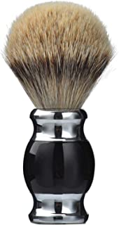 Je&Co 100% Silvertip Badger Hair Shaving Brush, Handmade Shaving Brush with Fine Resin Handle and Stainless Steel Base (black)
