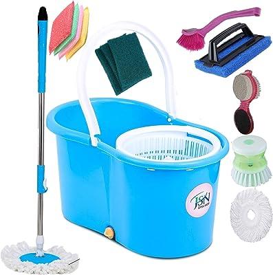JSN Classic Magic Dry Bucket Mop 360 Degree Self Spin Wringing with 2 Super Absorbers 1 Liquid Brush 1 Glove 4 Sponch Scrub 3 Scrub 1 Sink Cleaner 1 Pedi Cleaner Combo Mop Set
