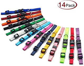 MULHUE 14 PCS Puppy ID Collars Identification Whelping Super Soft Nylon Adjustable Breakaway Litter Collars Baby Dog New B...