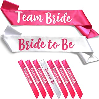 Team Bride 7pc Satin Sash Set - Sophisticated & Fun Party Favors for Bachelorette Party, Bridal Shower & Wedding Party (7pc Set, White & Pink)