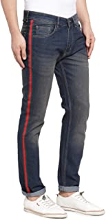 Ben Martin Men's Slim fit Designer Jeans -(BM-TAPE-3BROWN-RED-GRN)