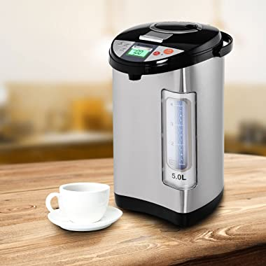 Costway Instant Electric Hot Water Boiler and Warmer, 5-Liter LCD Water Pot with 5 Stage Temperature Settings, Safety Lock to