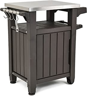 Keter Unity Portable Outdoor Table with Storage Cabinet and Stainless Steel Top, Unity, Espresso Brown