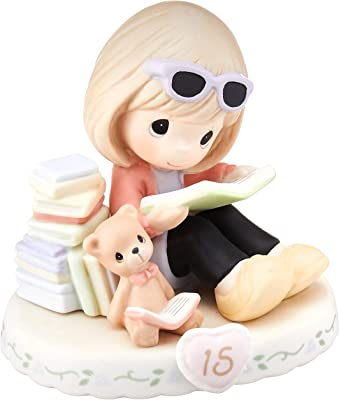 Precious Moments 162014B Brunette Girl Growing in Grace Age 15 Birthday Bisque Porcelain Figurine