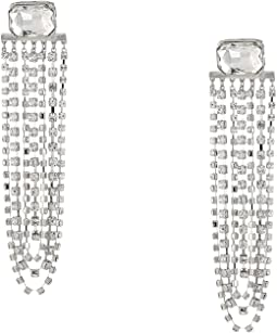 Emerald Post with Rhinestone Chain Chandelier Earrings