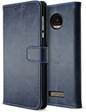 B BELK Motorola Moto Z Force Case, Retro Vintage Leather Wallet Case for Motorola Moto Z Force Droid Edition (Verizon), Classic Magnetical Snap Folio Flip Card Cover with Stand Function - Blue