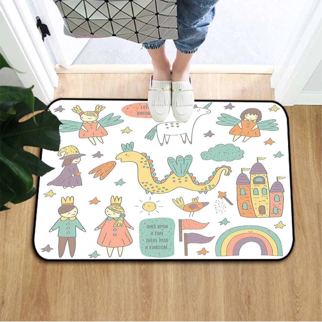 Fantasy Surprise price Non Slip Seasonal Wrap Introduction Doormat Doodle and Dragon Fairies Royalty Style