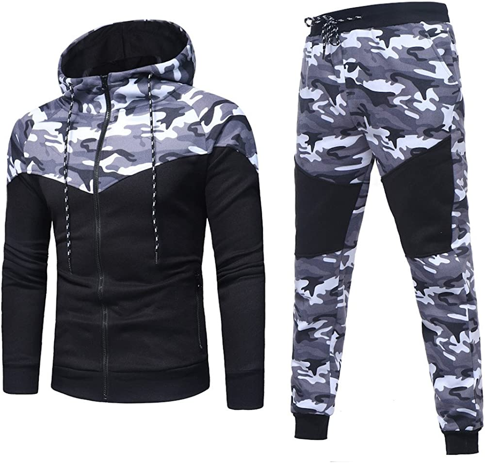 Fxbar,Men's Autumn Winter Camouflage Sweatshirt Fashion Cool Top Pants Sets Sports Suit Tracksuit