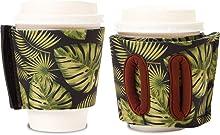 Objectiboo!(オブジェクティブー)通せるカップスリーブ hide and seek リーフプリント(ブラック)(保温性・断熱性のある取手付きコーヒースリーブ・コンビニコーヒーカップなどに対応・アイスコーヒーにも使用可)
