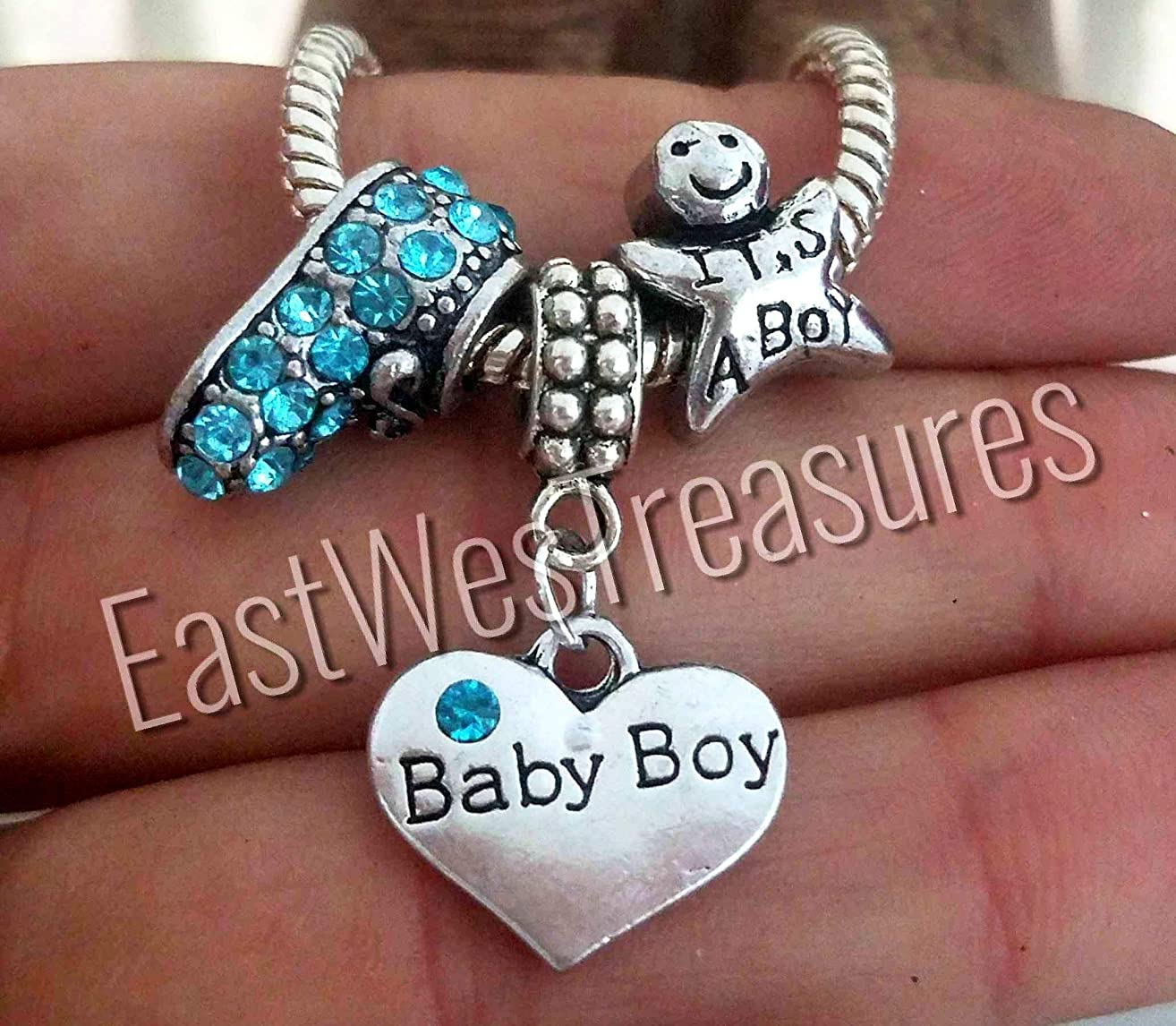 EWT New Baby Boy son grandson Booties shoes, Expecting New Mom, Pregnancy News, baby shower, Its a Boy jewelry gift charm set- For bracelets