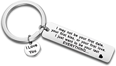 FEELMEM I May Not Be Your First Date Keychain Couples Love Lettering Keyring Valentines Day Birthday for Him or Her