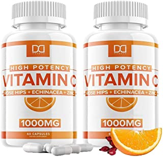 Vitamin C 1000mg with Zinc Echinacea Supplement Rose Hips for Adults Kids Immune Support - VIT C 500mg Capsules Pills Alte...
