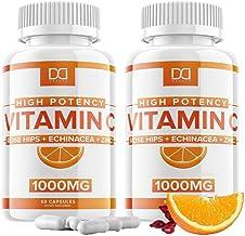 Vitamin C 1000mg Capsules w/ Zinc Echinacea Supplement Rose Hips for Adults Kids Immune Support - Vit C 500mg Pills Altern...