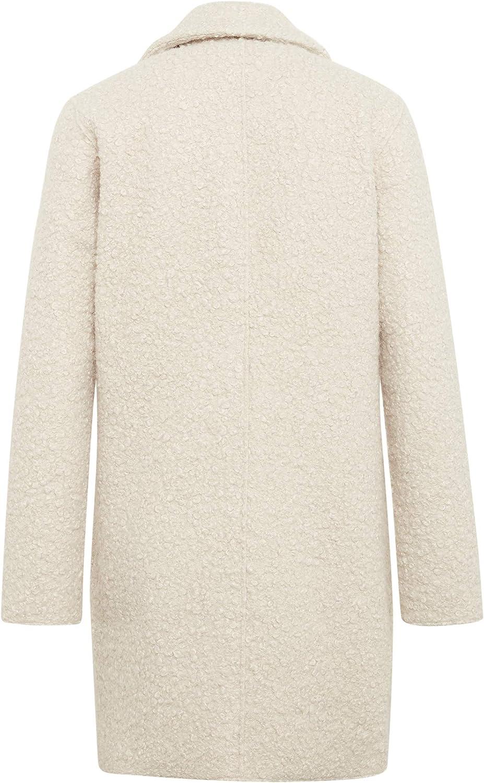 TOM TAILOR Damen Doubleface Bouclee Coat Jacke Elfenbein (Natural White 2841)