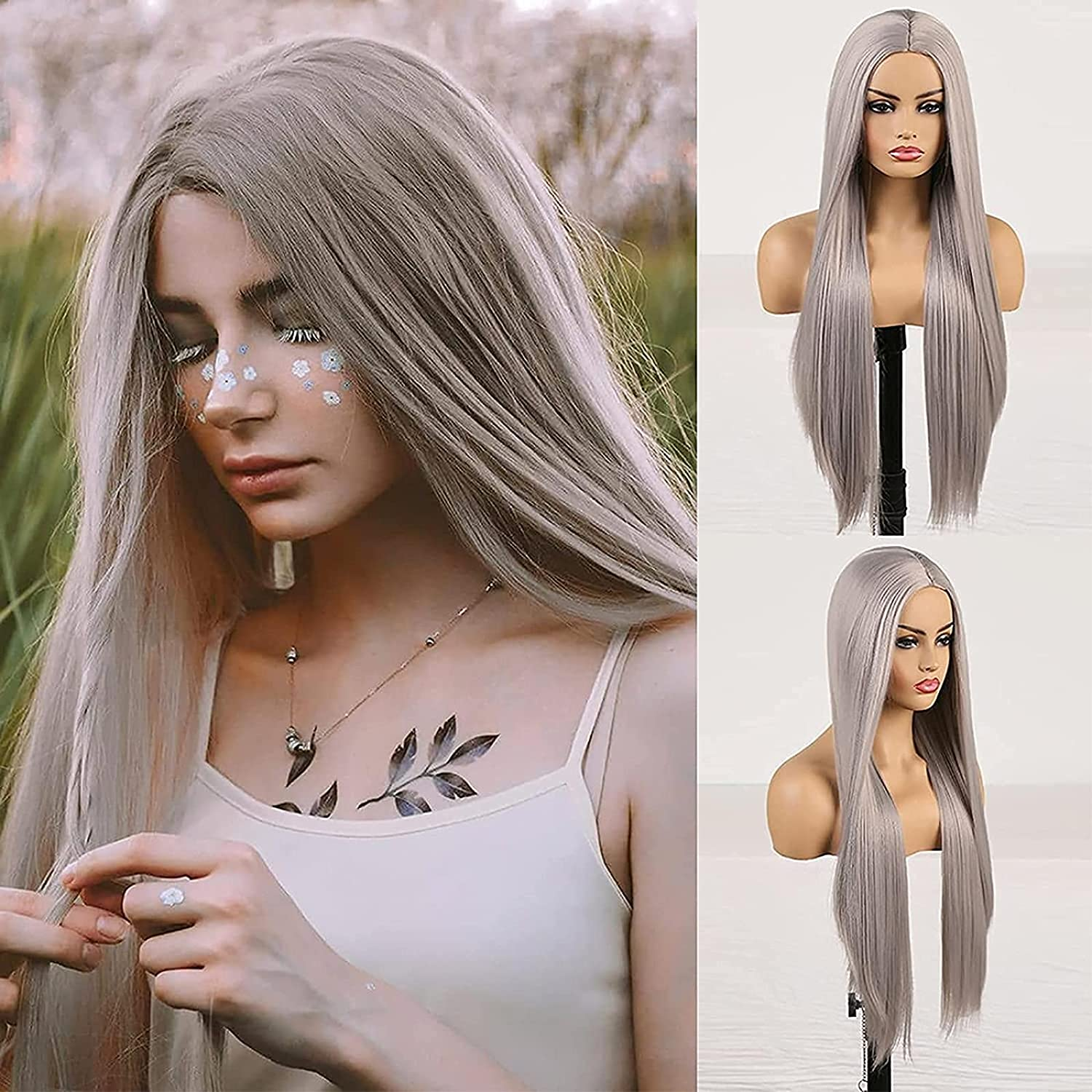 Cosplay Ranking TOP15 Gray Lace Front Wigs Long Hair Max 88% OFF R Silk Synthetic Straight