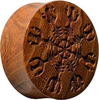 """CHICNET - Dilatatore per uomo e donna, in legno di teak, con incisione """"Casco d'onore"""", doppia Flared, da 22 mm a 30 mm"""