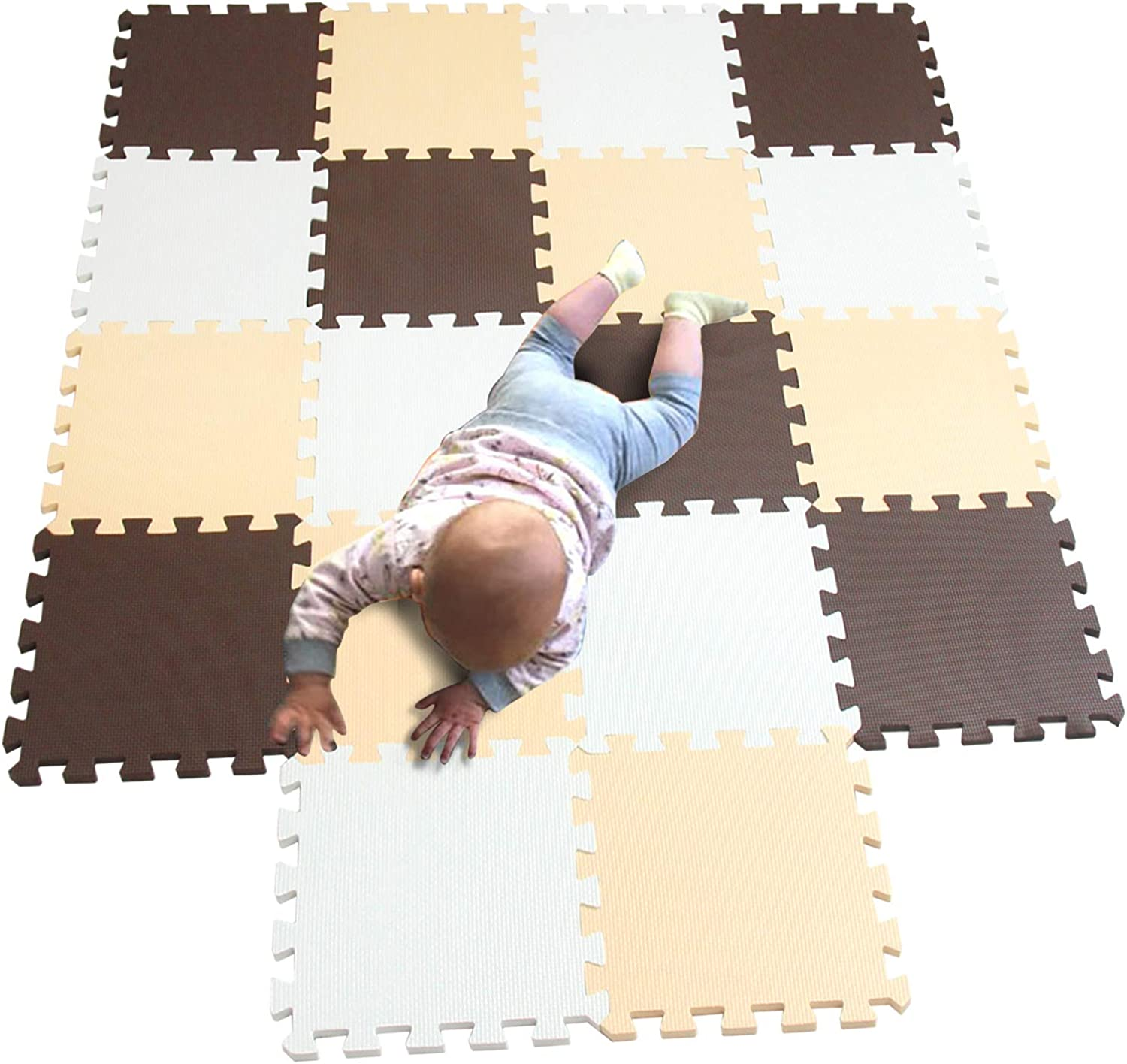MQIAOHAM 18 pcs White-Coffee-Beige Waterproof Indoor Best Yard Thick Antiskid Cushion Safety Tile Activity Boys Predector Non Slip Exercise Safe 101106110