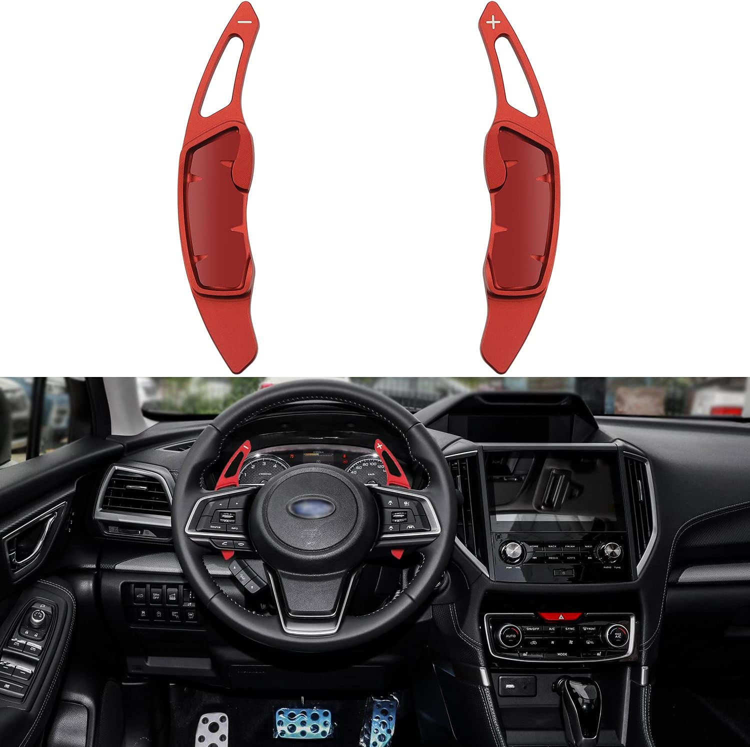 Kujunpao Subaru Accessories Shift Paddles Cover Extension Steering Wheel Shifter Extended Trim Decor For Scion FR-S Subaru Forester Outback XV BRZ WRX Impreza Crosstrek Legacy GT86(Red)