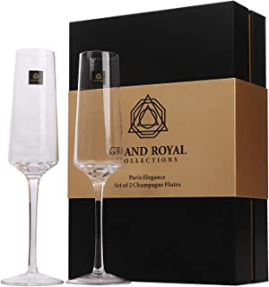 Champagne Flutes Set of 2 by Grand Royal Collections|Hand Blown Modern Lead Free Crystal Glasses Perfect Gift for Women, Wedding, Anniversary, Birthday, Christmas Paris Elegance Edition