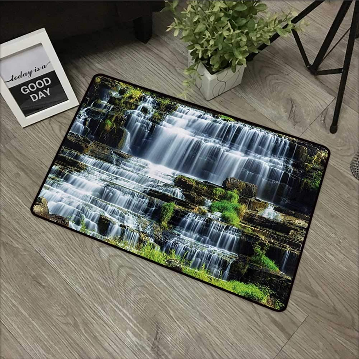 Interior Door mat W35 x L59 INCH Rainforest,Waterfall in The Middle of Tropical Jungle Natural Scenery Countryside Style,Green White Easy to Clean, no Deformation, no Fading Non-Slip Door Mat Carpet