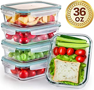 [5-Pack,36 OZ]Large Glass Meal Prep Containers - Glass Storage Containers with lids - Glass Lunch containers Airtight BPA free FDA Approval Leakproof (5 container& 5 lids) (1 compartment container)