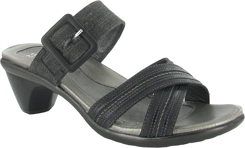 Naot Damen Schuhe Pantoletten Marvel Echt-Leder schwarz Combi 14416 Fubett